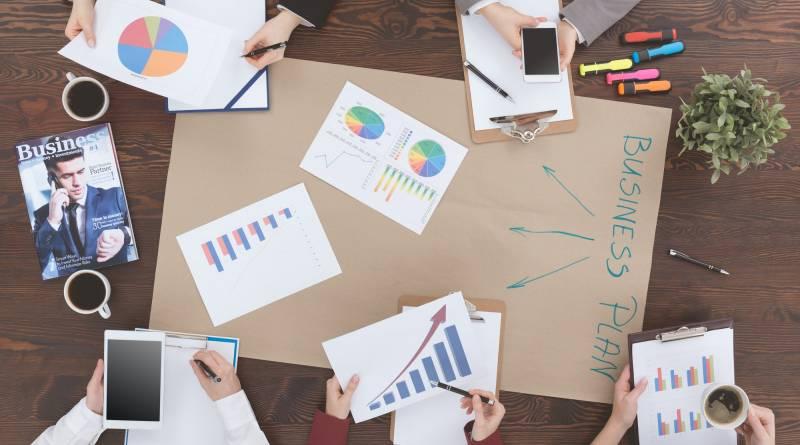People preparing business plan